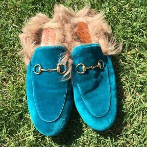 Gucci Velvet Teal Fur Mule Princetown